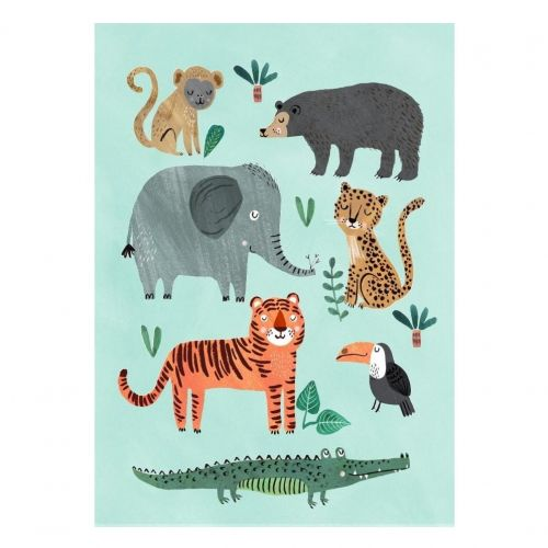 PETIT MONKEY / Plagát Wild Animals 50 x 70 cm