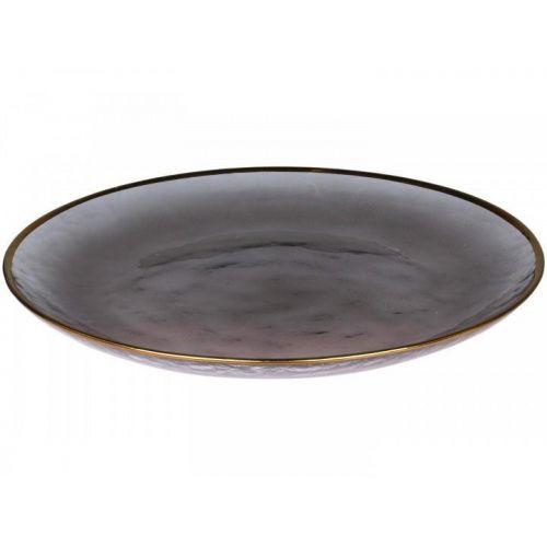 Chic Antique / Sklenený tanier Grey Golden Edge 27 cm