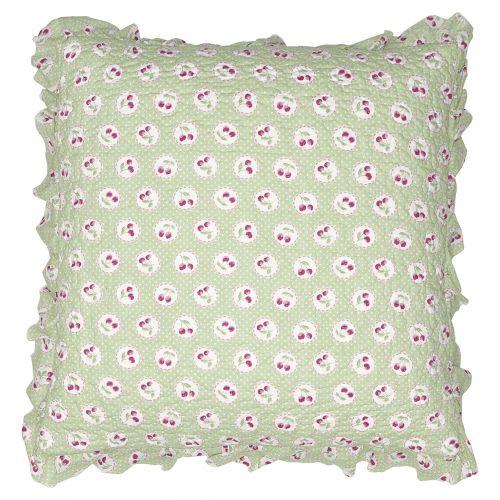 GREEN GATE / Obliečka na vankúš Cherry Berry Pale Green 50x50cm