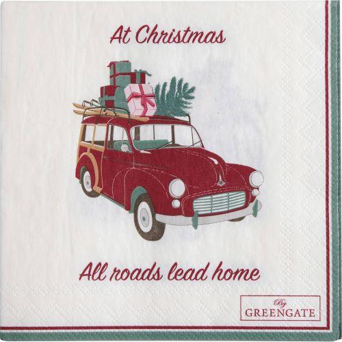 GREEN GATE / Papierové obrúsky Christmas Car White - menšie