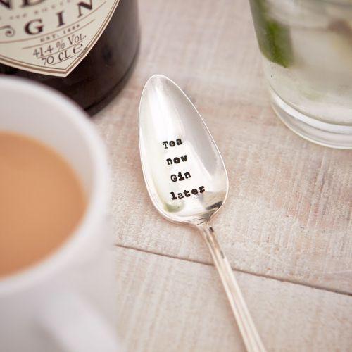 La de da! Living / Postriebrená čajová lyžička Tea Now, Gin Later
