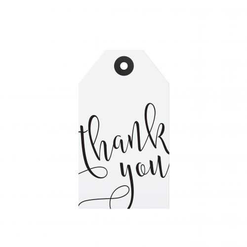 TAFELGUT / Papírový štítek Thank you 6x10,5 cm