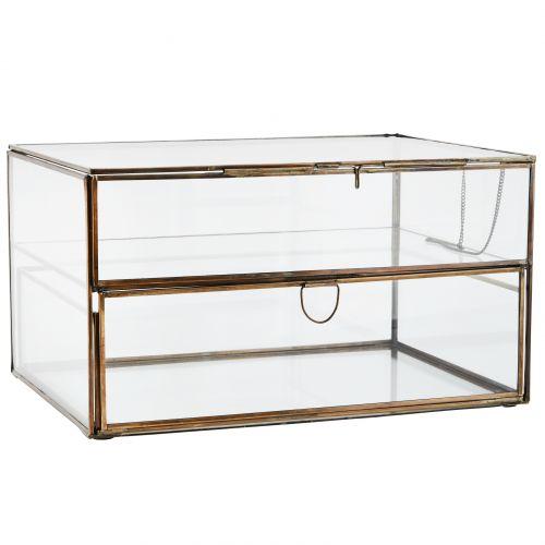 MADAM STOLTZ / Dvojposchodový sklenený box so šuplíkom Antique Brass