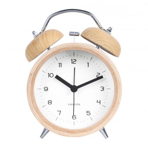 Karlsson / Dizajnový budík Classic Bell Wood/White