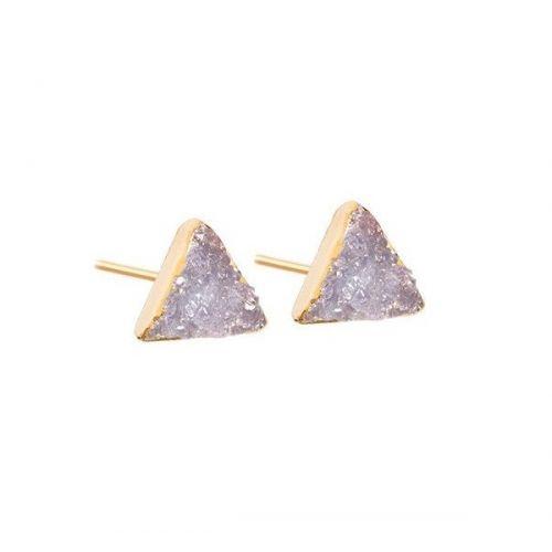 DECADORN / Náušnice Mini Triangle Light grey/Gold