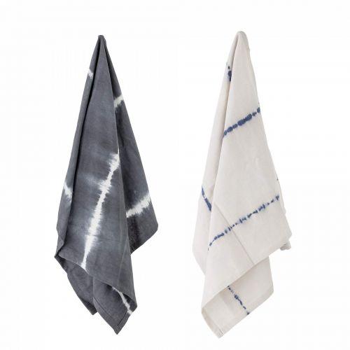 Bloomingville / Bavlnená utierka Grey Tie Dye 70×45 cm - set 2 ks