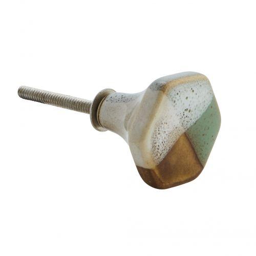 MADAM STOLTZ / Porcelánová úchytka Hexagonal Doorknob