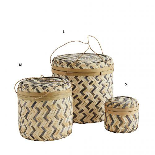MADAM STOLTZ / Bambusový košík Bamboo Boxes Natural & Grey