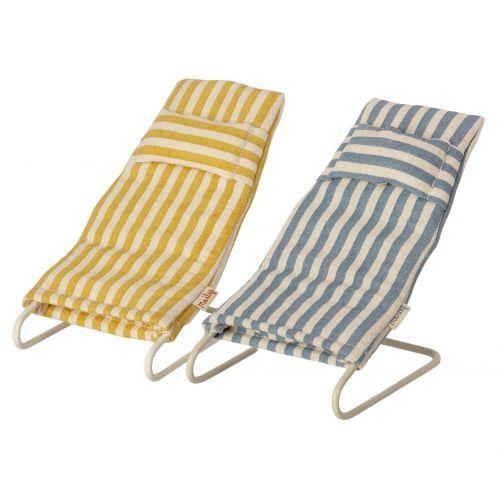 Maileg / Plážové ležadlo pre zvieratká Maileg Mouse Stripe - Set 2 ks