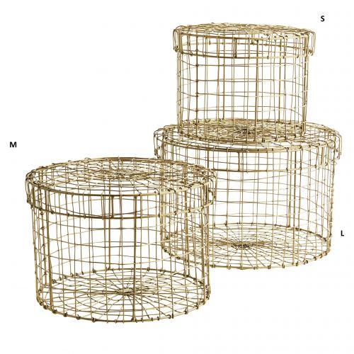 MADAM STOLTZ / Guľatý drôtený box Round Gold Box