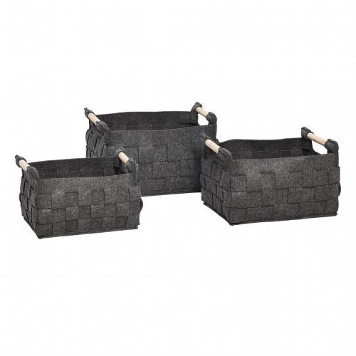 Hübsch / Plstený úložný box Dark Grey