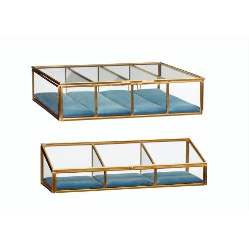 Hübsch / Sklenený box s priehradkami brass glass