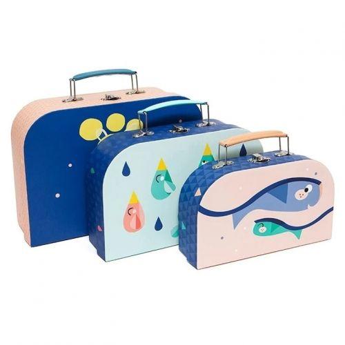 PETIT MONKEY / Detský kufrík Blue Mix - 3 druhy