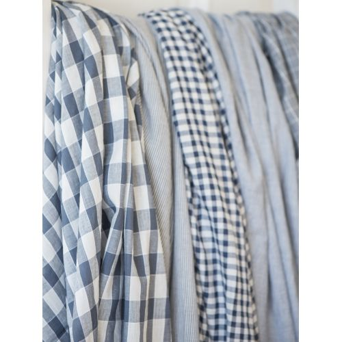 IB LAURSEN / Dámska šatka so strapcami Blue checkered/striped