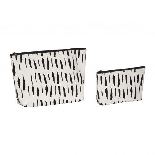 Hübsch / Kozmetická taštička White/Black - set 2ks