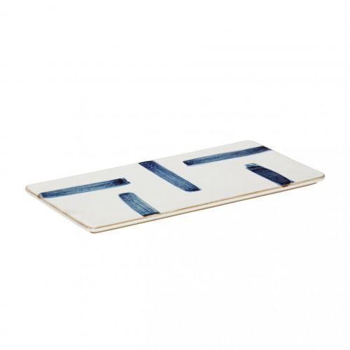Hübsch / Porcelánová servírovacia tácka White Blue