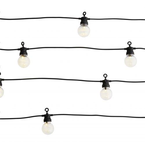 MADAM STOLTZ / Vonkajšia svetelná LED reťaz Ball Black - 10 žiaroviek