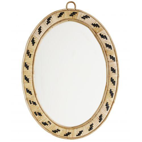 MADAM STOLTZ / Oválne zrkadlo v bambusovom ráme Cane