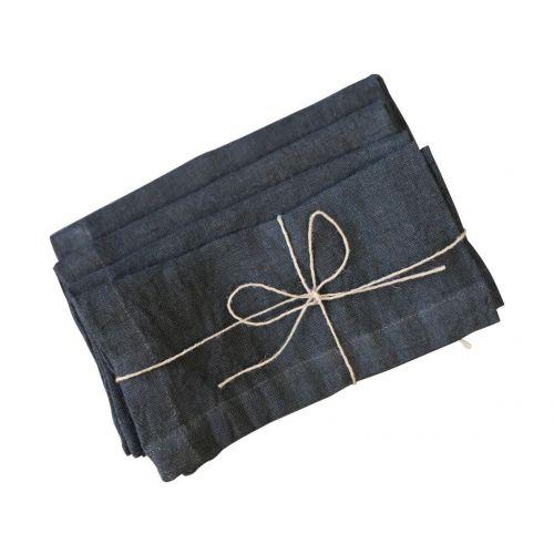 Chic Antique / Ľanový obrúsok Coal 40×40 cm - set 4 ks