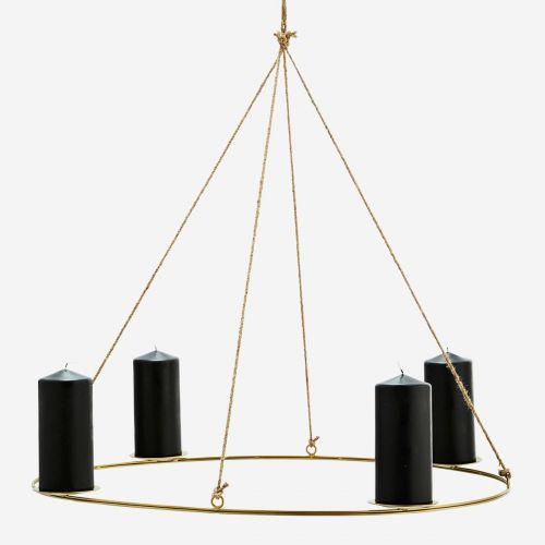 MADAM STOLTZ / Závesný svietnik Gold Oval Candle Holder