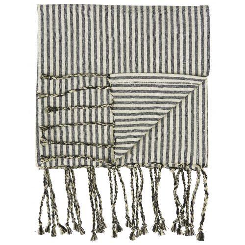 IB LAURSEN / Bavlnený uterák Hammam Black Stripes