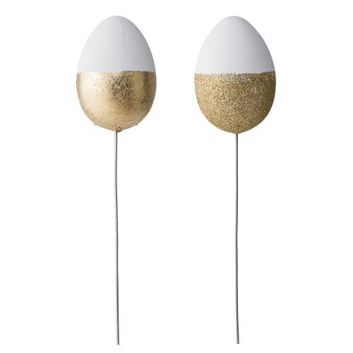Bloomingville / Dekoratívne zapichovacie vajíčko White/gold - set 2 ks