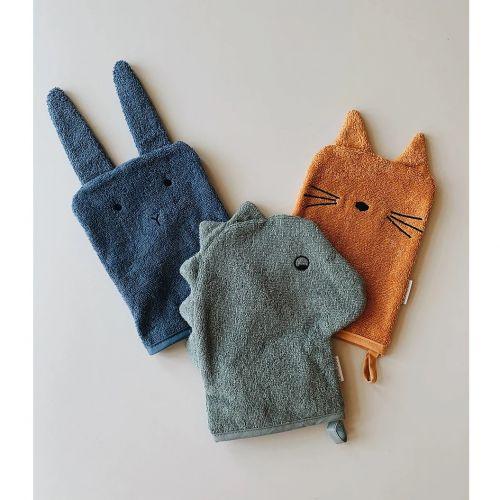 LIEWOOD / Froté handričky z organickej bavlny Dino, Cat & Rabbit