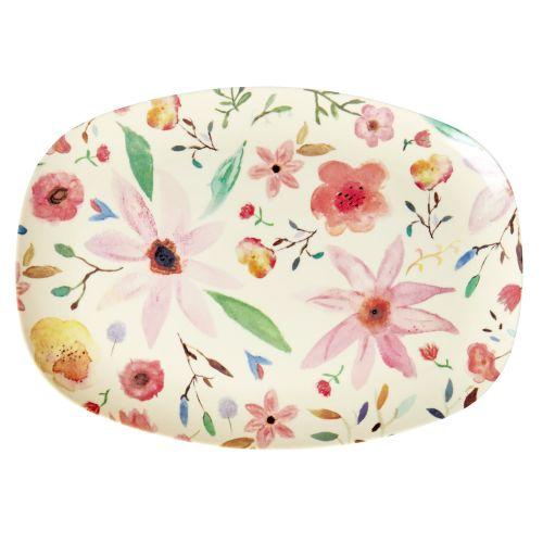 rice / Oválny melamínový tanier Selmas Flower