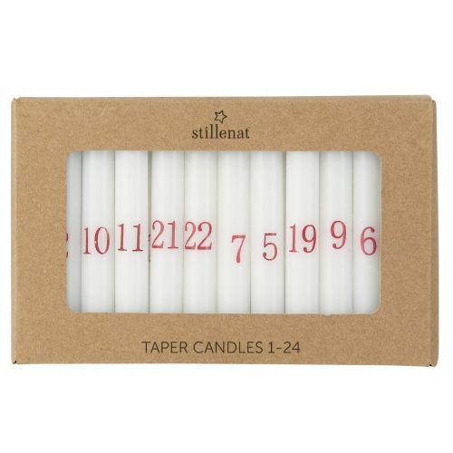 IB LAURSEN / Adventné sviečky 1-24 White/red
