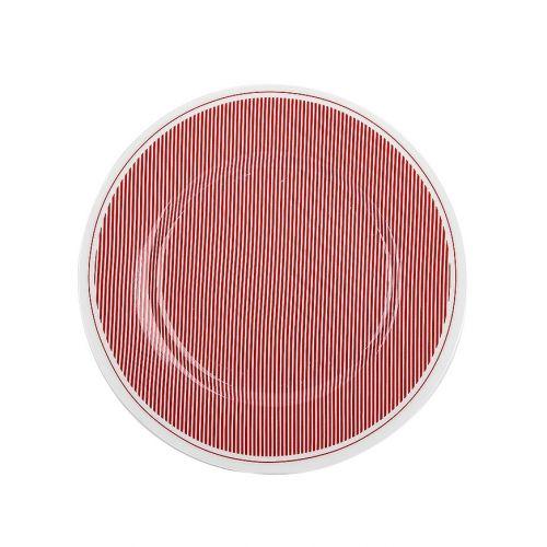 Krasilnikoff / Porcelánový dezertný tanier Pinstripe Red