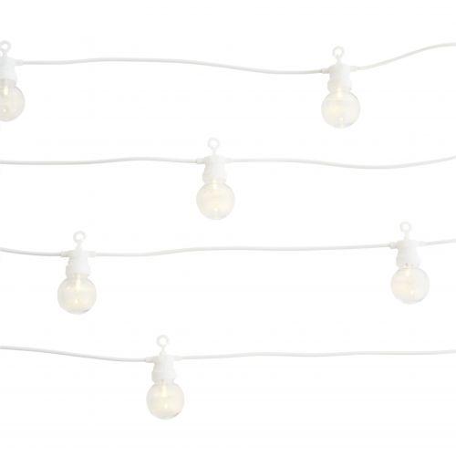 MADAM STOLTZ / Vonkajšia svetelná LED reťaz Ball White - 10 žiaroviek
