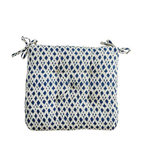 MADAM STOLTZ / Sedák Blue pattern 45x45 cm