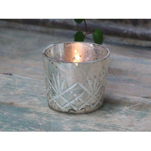 Chic Antique / Sklenený svietnik na čajovú sviečku Antique Silver