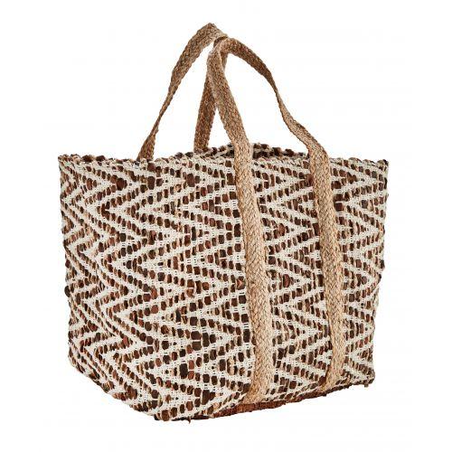 MADAM STOLTZ / Kožená dekoratívna taška Leather & Jute