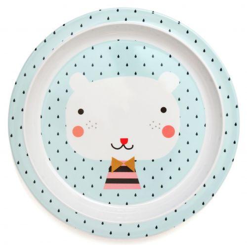 PETIT MONKEY / Modrý melamínový tanier Bear - svetlomodrý