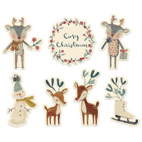 Maileg / Vianočné štítky na darčeky Cosy Christmas - 14 ks