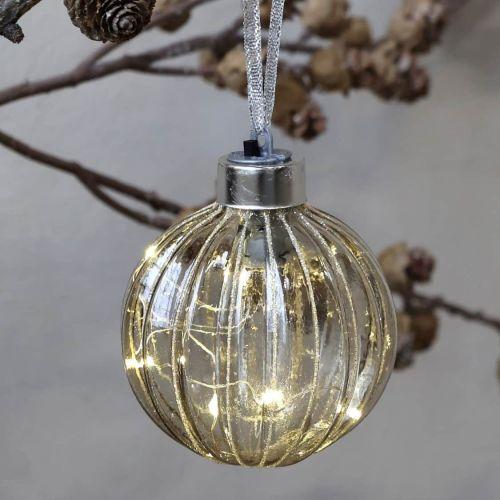 Chic Antique / Sklenená ozdoba s LED drátkem Mocca 8 cm