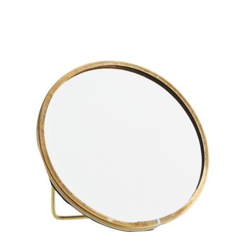MADAM STOLTZ / Okrúhle stolné zrkadlo s opierkou Antique Brass - menšie