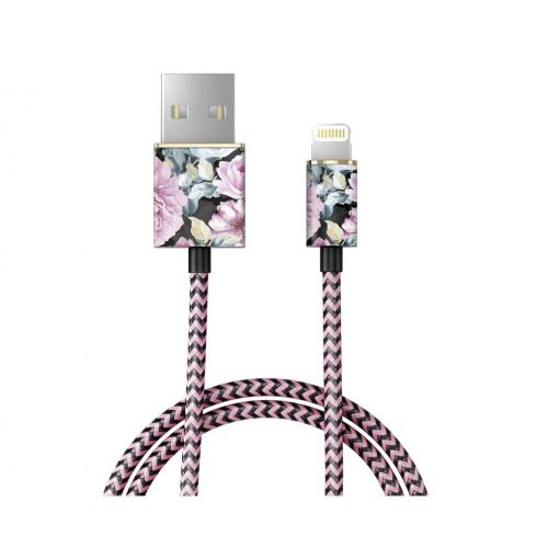 iDeal of Sweden / Textilní USB kabel na iPhone Peony Garden 1m
