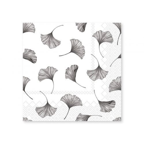 Chic Antique / Papierové servítky Leaves White 20 ks