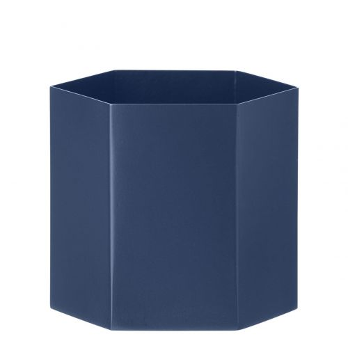 ferm LIVING / Kovový kvetináč Hexagon Blue L