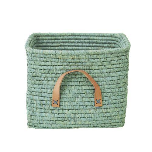 rice / Pletený kôš s koženou rukoväťou Mint