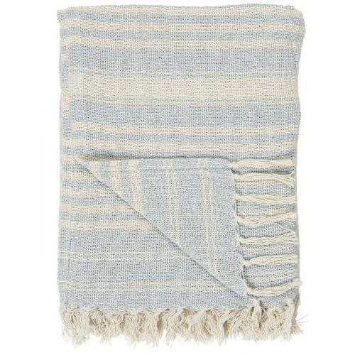 IB LAURSEN / Balvnený pléd Cream Light Blue Stripe 130 × 160 cm