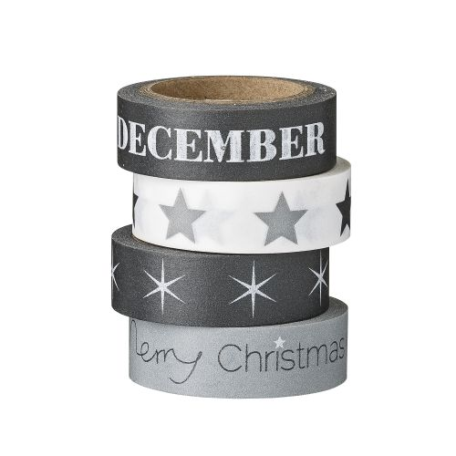 Bloomingville / Vianočná papierová páska Black, Grey & White