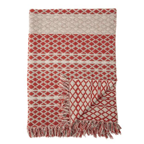Bloomingville / Bavlnený prehoz Recycled Cotton Red 160x130