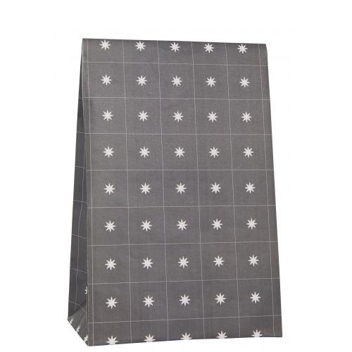 IB LAURSEN / Papierový sáčok Stars Anthracite 28,8cm