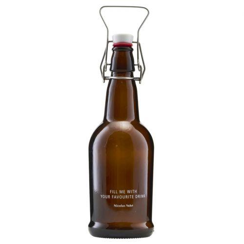 Nicolas Vahé / Sklenená fľaša s klipom 480 ml - hnedá