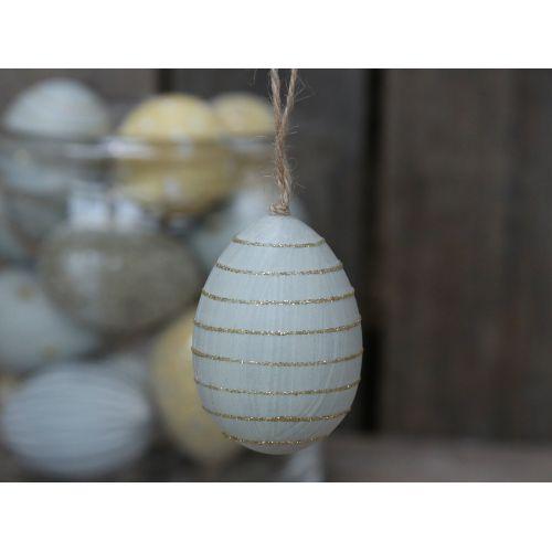 Chic Antique / Závesné plastové vajce Light Blue Stripes