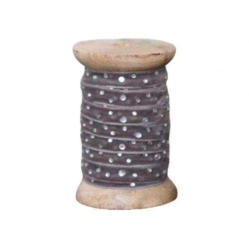 Chic Antique / Dekoratívna stuha s kamienkami Grey