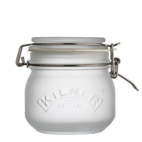 KILNER / Sklenená dóza s klipom White Frosted 500 ml